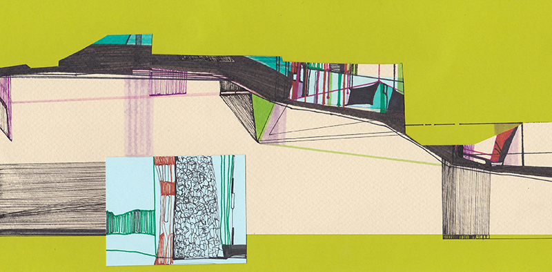 Ana Pais Oliveira - Another Shelter #14, Marcadores canetas e colagem s cartolina, 15x30cm, 2012