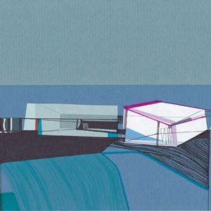 Ana Pais Oliveira - Houses, several corners of the world #13, desenho e colagem s cartão, 15x30cm, 2012