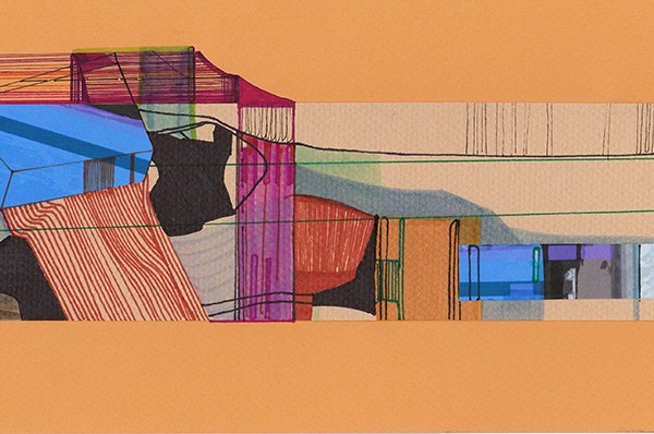 Ana Pais Oliveira - Houses, several corners of the world #29, marcadores canetas e colagem s cartão, 15x30cm, 2012
