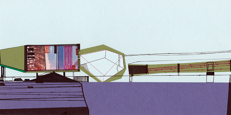 Ana Pais Oliveira - Houses, several corners of the world #42, marcadores e colagem s cartão, 15x30cm, 2012