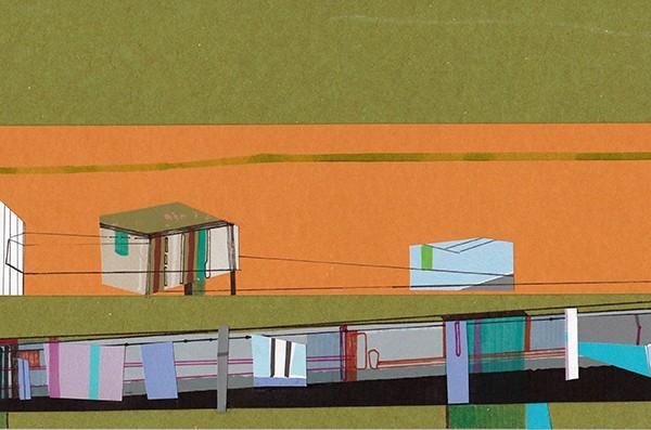 Ana Pais Oliveira - Houses, several corners of the world #51, marcadores e colagem s cartão, 15x30cm, 2012