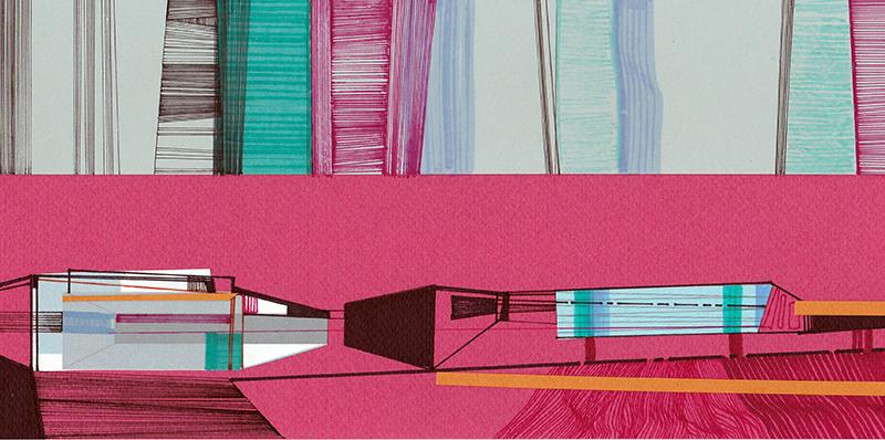 Ana Pais Oliveira - Houses, several corners of the world #54, marcadores e colagem s cartolina, 15x30cm, 2012