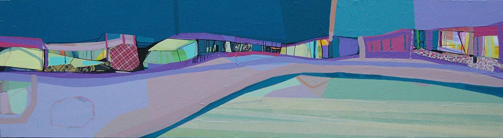 Ana Pais Oliveira - Ninguem mora aqui II, acrilico e tecido s tela 2009, 45x166cm