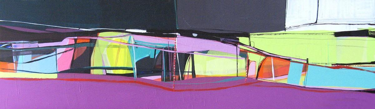 Ana Pais Oliveira - Pela janela, agulha na mão I, acrilico s tela 2008, 45x166cm AP