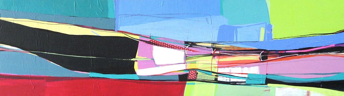 Ana Pais Oliveira - Pela janela, agulha na mão II, acrilico s tela 2008, 45x166cm AP