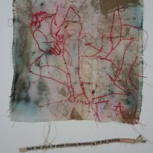 Angelina Silva, love drawing 1, desenho e linhas sobre tecido, 36,5x26cm