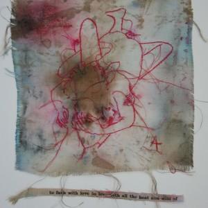 Angelina Silva, love drawing 2, desenho e linhas sobre tecido, 36,5x26cm