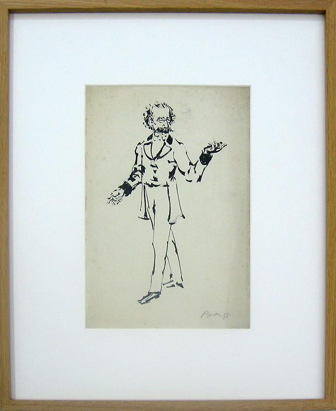 Julio Pomar - Camilo Castelo Branco, tinta-da-china s papel, 33x23cm BD