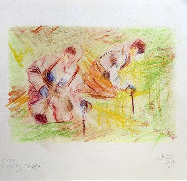 Alexandre Conefrey, feeling you #3, lapis cor s papel, 2018, 21x29,7cm