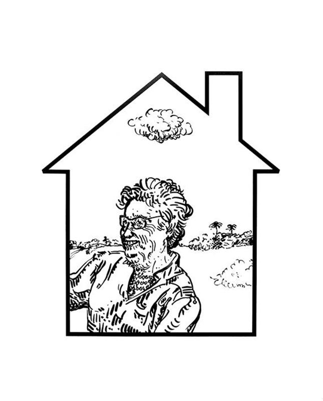 António Olaio - homely window 3, tinta china s papel, 2002, 49x39cm BD