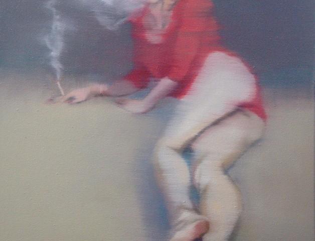 António Trindade - Girls and Cigarettes #I, 50x40cm, 2018, oleo s tela