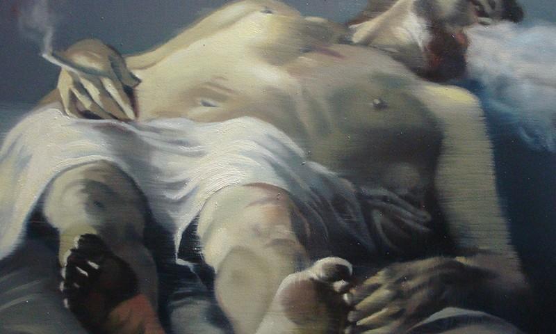 António Trindade - The Smoker, After Carracci, 50x60cm, 2018-2019, oleo s tela