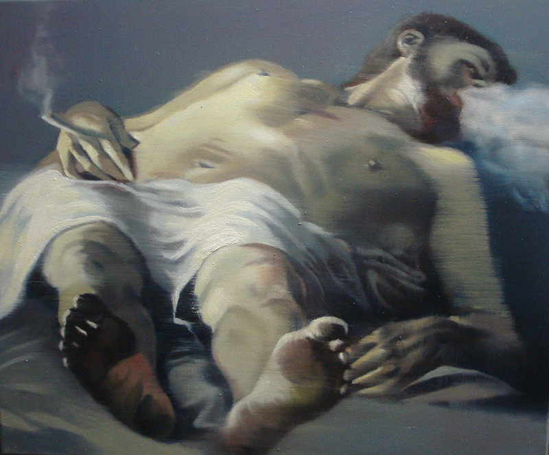 António Trindade - The Smoker, After Carracci, 50x60cm, 2018-2019, oleo s tela