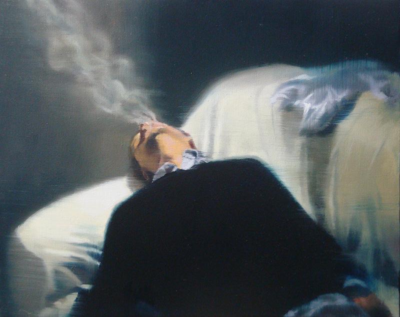 António Trindade - The Smoker #I, 33x40cm, 2018, oleo s tela