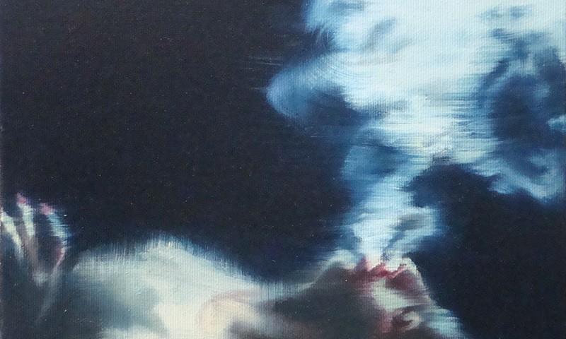 António Trindade - The Smoker #III, 21x26cm, 2018, oleo s tela