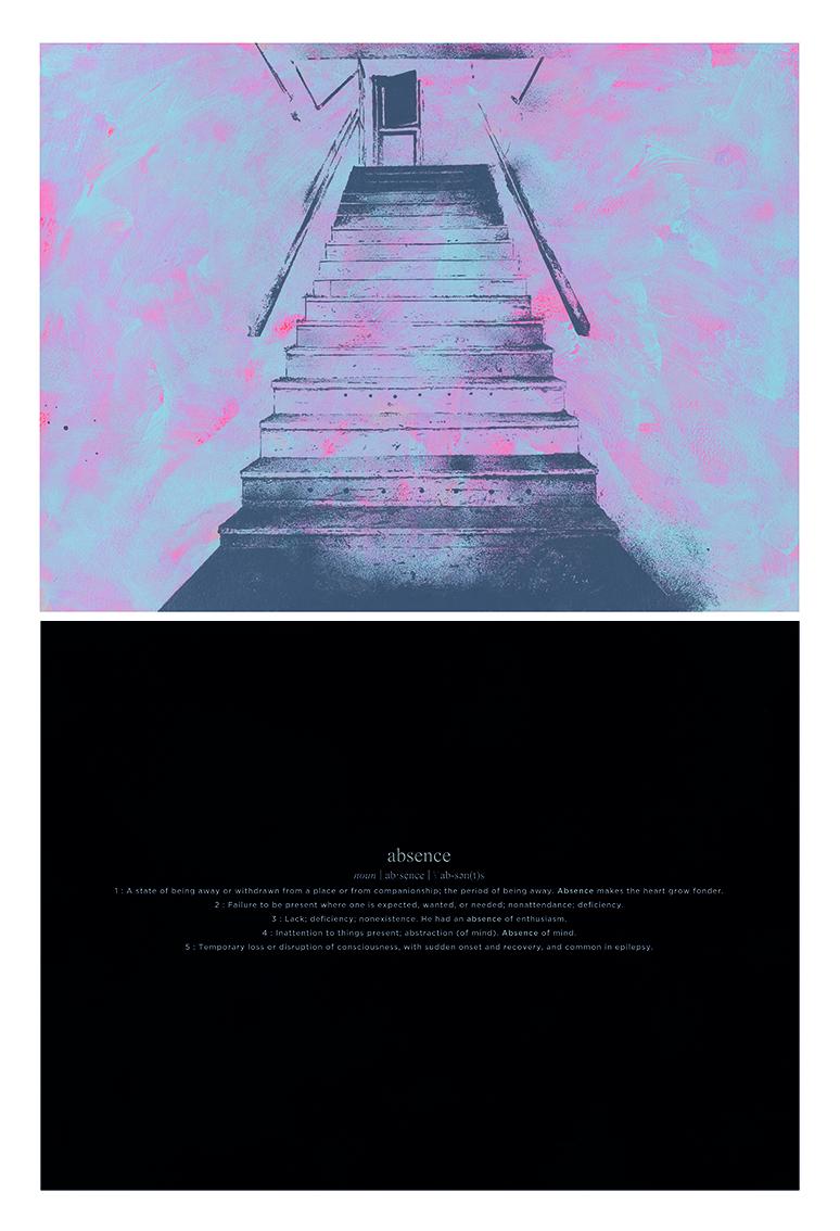 Alexandre Baptista - ABSENCE 10, 2019, acrilico e serigrafia s papel, 72x48cm