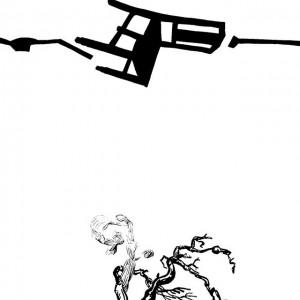 António Olaio - Na catedra de S pedro_2, tinta da china s papel, 50x40cm, 2010 BD