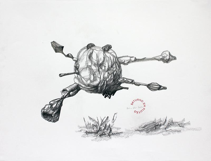 António Olaio - saturno em plutão 13 B, grafite s papel, 42x55cm, 2019