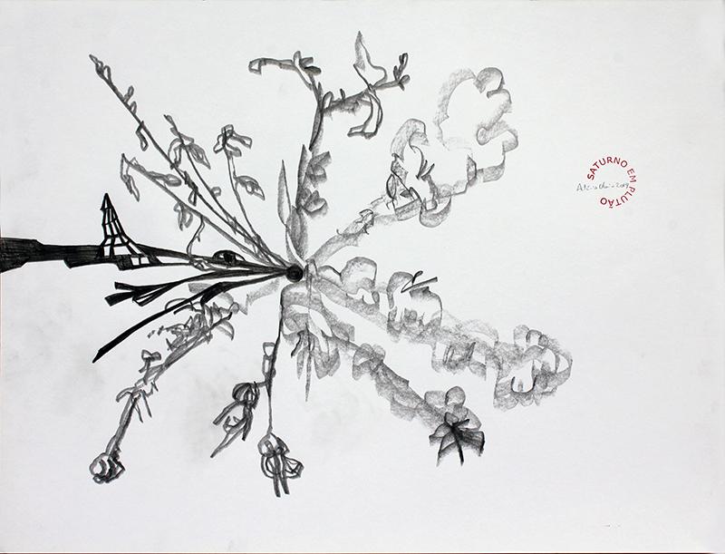 António Olaio - saturno em plutão 1B, grafite s papel, 42x55cm, 2019