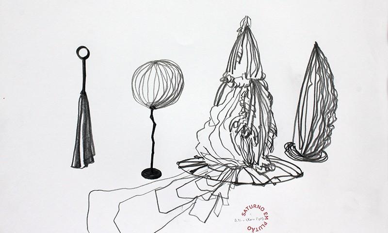 António Olaio - saturno em plutão 2B, grafite s papel, 42x55cm, 2019
