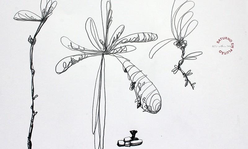 António Olaio - saturno em plutão 4B, grafite s papel, 42x55cm, 2019