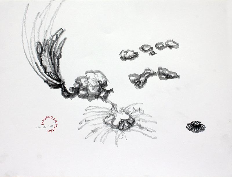 António Olaio - saturno em plutão 5B, grafite s papel, 42x55cm, 2019