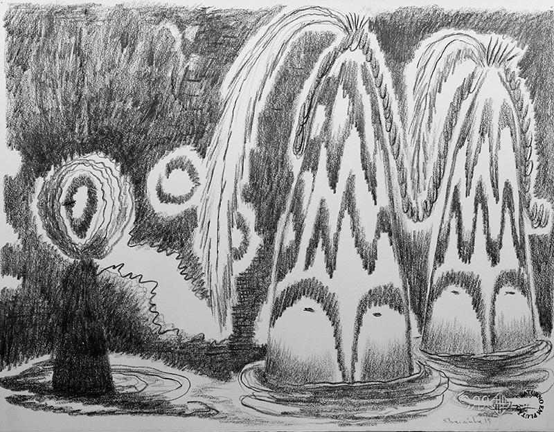 Luis Silveirinha - Saturno em plutao 2A ,grafite sobre papel, 55x47 cm, 2019