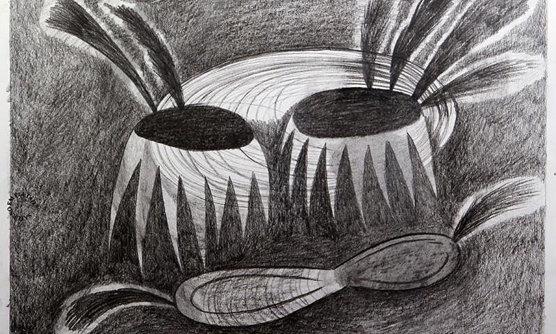 Luis Silveirinha - Saturno em plutao 9A ,grafite sobre papel, 55x47 cm, 2019