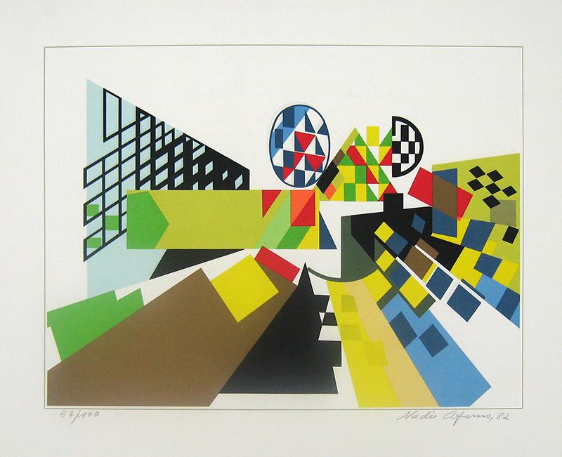 Nadir Afonso - Perspectiva III, serigrafia 57-100, 43,5x52,5cm, 1982 BD