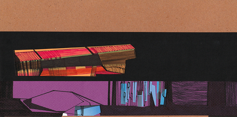 Ana Pais Oliveira - Another Shelter #12, desenho e colagem s cartão, 15x30cm, 2012