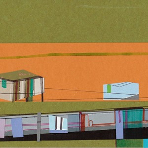 Ana Pais Oliveira - Houses, several corners of the world #51, marcadores e colagem s cartão, 15x30cm, 2012