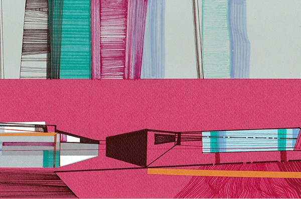 Ana Pais Oliveira - Houses, several corners of the world #54, marcadores e colagem s cartolina, 15x30cm, 2012