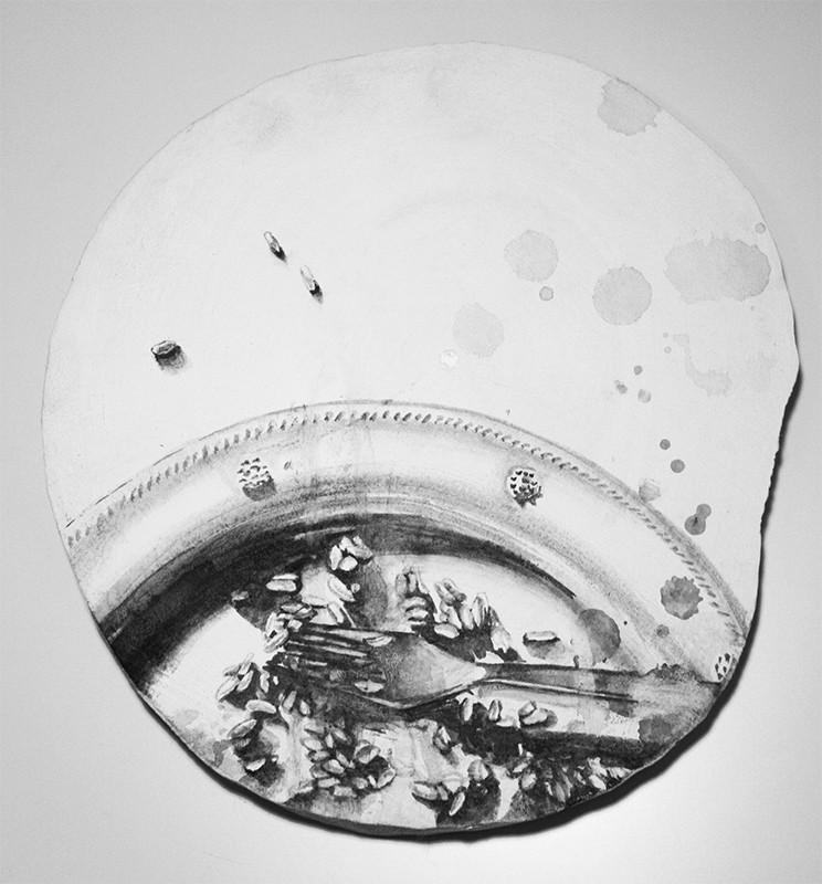 Raquel Gomes - diz o que comes 1, 2013, tint china s madeira, 23cm