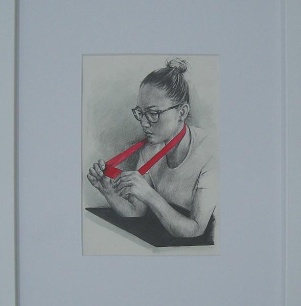 Jorge Abade - a estudante, 2017, 21x14,8cm, grafite e aguarela em papel