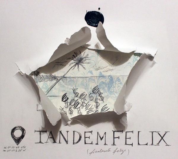 Ana Fonseca, finalmente feliz,Alegoria do Paraíso Fiscal, Cayman Island, 2017, 29,7 x 42 cm Grafite, guache e lacre sobre papel e papel marmoreado