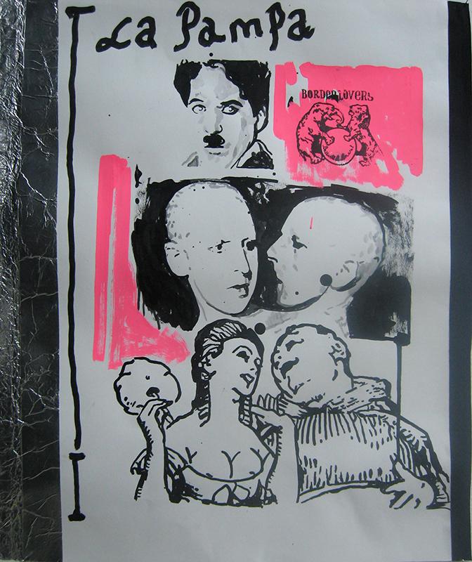 Borderlovers - la pampa, 50x24cm, 2017, tintas montana, marcadores e fita s papel