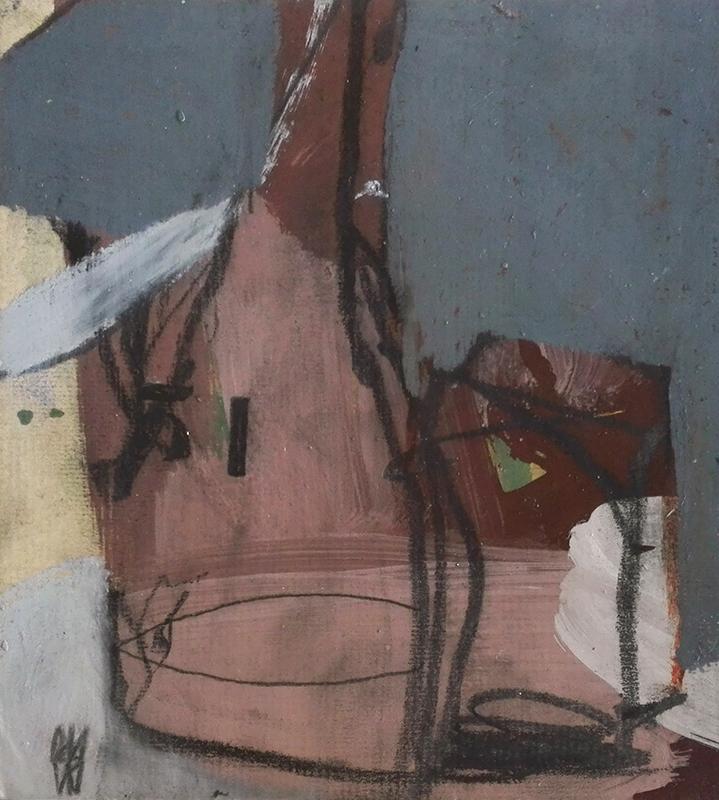 Daniel David – sem título 3, óleo e pastel de óleo sobre cartolina, 14x12cm (25, 5x25,5cm)