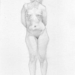 Daniel Gamelas, Elisa, estudo de luz e sombra, Grafite sobre papel, 2007, 28x18cm