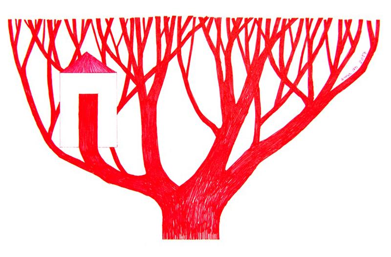 Ema M, 2017, Árvore 11, 14x21cm, esferográfica sobre papel