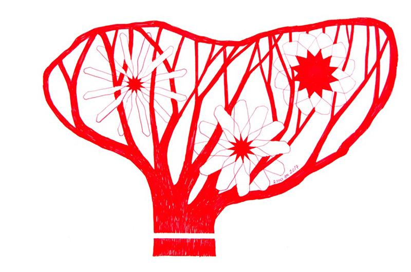 Ema M, 2017, Árvore 12, 14x21cm, esferográfica sobre papel