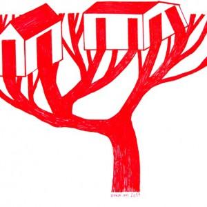 Ema M, 2017, Árvore 15, 14x21cm, esferográfica sobre papel