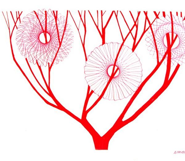 Ema M, 2017, Árvore 2, 14x21cm, esferográfica sobre papel