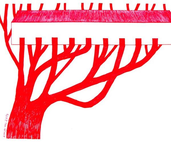 Ema M, 2017, Árvore 8, 14x21cm, esferográfica sobre papel