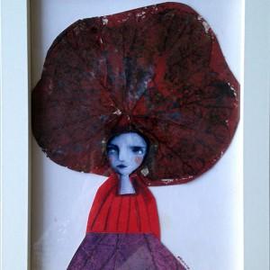 Evelina Oliveira- cabelo vegetal, Colagem e pastel de óleo s papel canson, 14x9cm, 2015