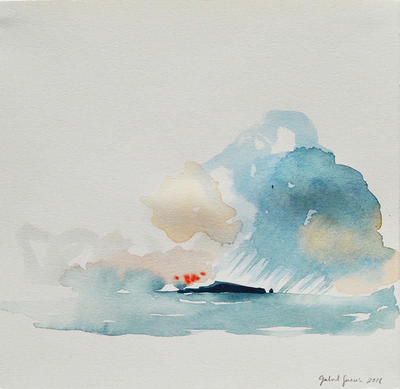 Gabriel Garcia - 06 serie aqua storm, 2018, aguarela s papel, 20x20cm