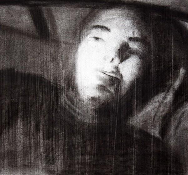 Leonel Cunha - uns gajos a dormir 5, 1999, carvão s papel, 32x45,5cm