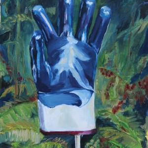 Maia Horta - garden glove, 2016, oleo s papel, 28x38cm