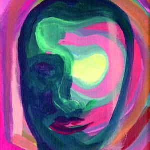 NUNO GAIVOTO - rosto de fava, 2018, acrilico s tela, 19,8x14,8cm