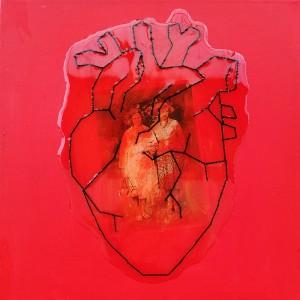 Ricardos Passos - In Box 5 - love box, acrilico assemblage, linha bordada e resina epoxica s tela, 30x30cm