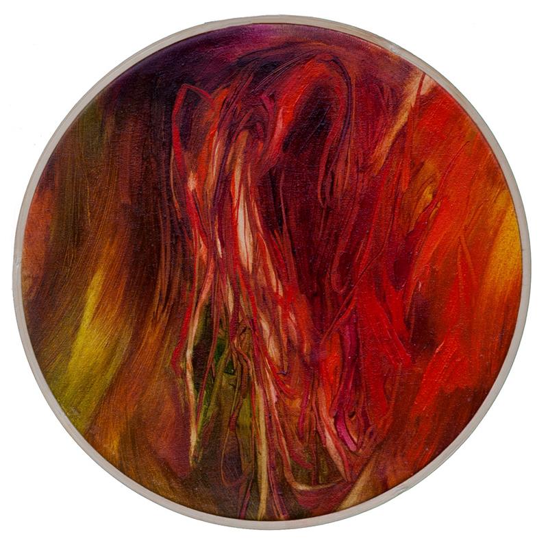 Sonia Aniceto - tondo 3, 2017, bastidor oleo s tela, 26cm diam